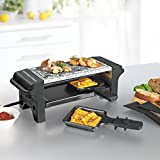 Made of combination of Raclette and hot stone Ideal to an additional or anytime Hot Stone for grilling of meat, fish and other. Heat Up ready in less than 5 minutes 2 little Raclette Pans + 2 spatulas