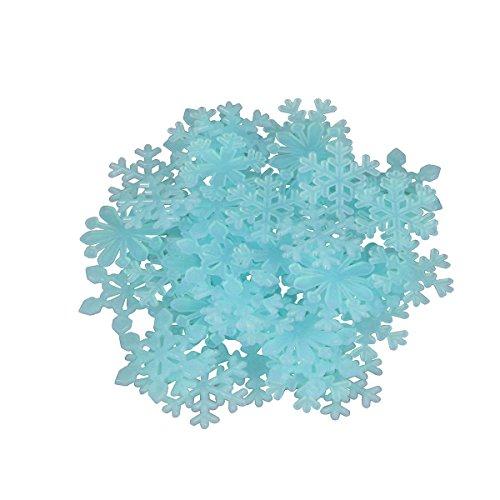 OULII 50 STÜCKE 3D Leucht Fluoreszierende Schneeflocke Wandaufkleber Aufkleber Fenster Clings Für Weihnachtsfeier Dekoration (Blau)