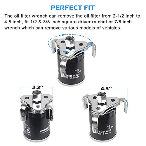 Universal Adjustable Oil Filter Wrench From 2-1/2 inch to 4.5 inch Oil Filter Wrench Tool Set With 3 Jaw