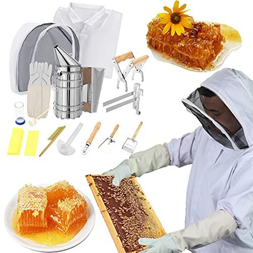 Kacsoo 12-teiliges Manuelles Bienenrauchsender-Set aus Edelstahl für Bienenzucht, Starterwerkzeug-Set für Bienenzucht, Bienenzucht, Bienenzucht, Rauchsprühgerät