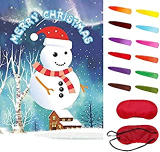 Ocosy Pin The Nose on The Snowman Game Christmas Party Game Christmas Party Favors Christmas Decorations (Snowman)