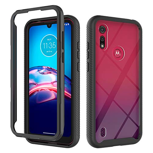 i-Case Hybrid Case Schutzhülle Back Cover für Motorola Moto E6s (2020),Handyschale Kristall Klar Weich Hülle Case 360°Rugged schutzhülle Stoßfest Handyhülle für Motorola Moto E6s (2020)-Schwarz