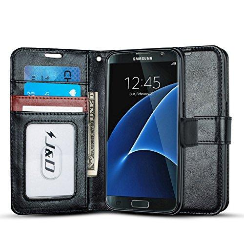 JD Compatible para Galaxy S7 Funda, [Protección de Cartera] [Soporte Plegable] Funda Pesada Resistentes Billetera para Samsung Galaxy S7 Funda Cuero - Negro