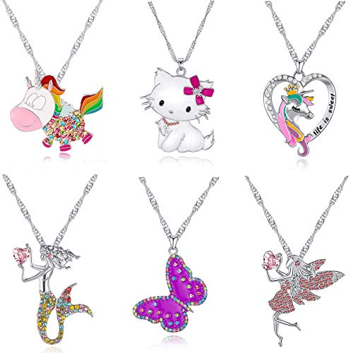 TAMHOO 6 Pcs Cute Necklaces for Teen Girls Birthday Gift Pack-Kids Jewelry for Girls Necklaces-Cat Necklace Set Butterfly Necklace for Girls -Girls' Jewelry for Teen Girls - Heart Necklace for Girls