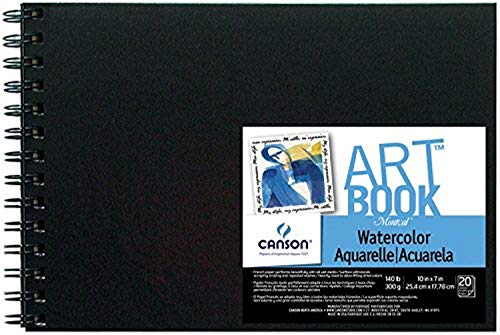 Canson Montval Field Watercolor Art Book Paper Pad, Side Wire Bound, 140 Pound, 10 x 7 Inch, 20 Sheets