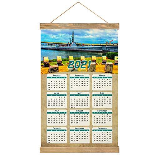 Usa America Pearl Harbor National Memorial Honolulu Oahu Hawaii Wall Calendar 2021 12 months Canvas Wood 20.4' x 13.1' (GL-USA-6428)