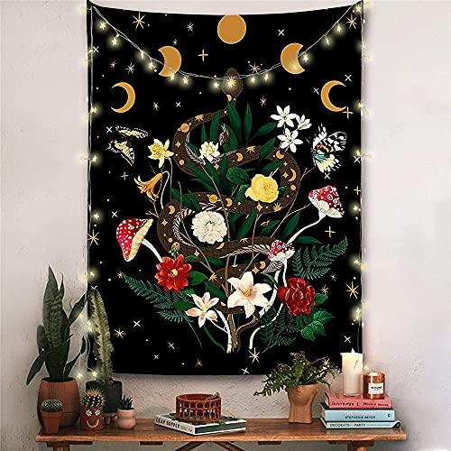 Mandala tapiz psicodélico mariposa seta tapiz colgante de pared fondo negro tela A6 180x200cm