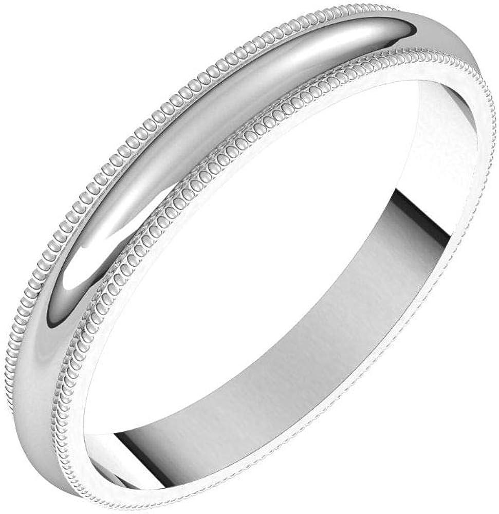 Solid supreme Max 78% OFF Palladium 3mm Milgrain Wedding Ring Plain Band Tra Classic