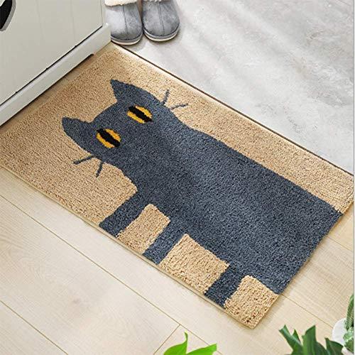 ZHOUAICHENG Teppich Katze Fußmatte Außenteppiche Gummibodenmatte rutschfeste Küchenteppich Eingangsmatten Saugfähigen Badezimmer Fußmatte,A,40 * 60cm
