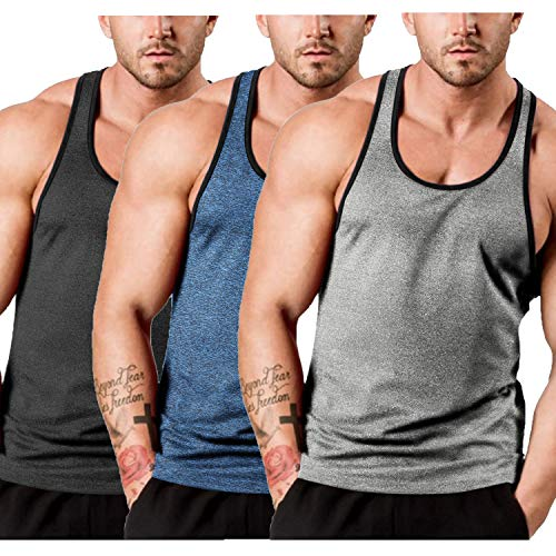 COOFANDY Men's 3 Pack Gym Tank Tops Y-Back Workout Muscle Tee Sleeveless Fitness Bodybuilding T Shirts (Black/Blue/Light Grey, Medium)