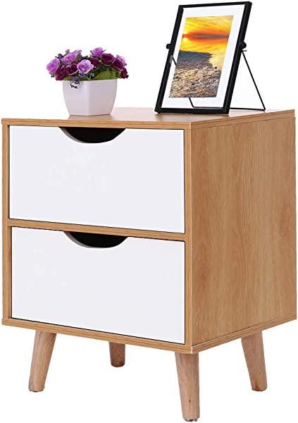 Hohaski Nordic Pine Color White Stylish Assemble Cabinet Bedroom Bedside Locker Drawer Nightstand Simple Modern Imitation Wood Storage Simple Economy Storage Chest Ship From US C 40x30x50cm