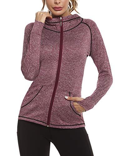 Sykooria Damen Laufjacke voll Reißverschluss Sportjacke leichte atmungsaktiv Langarm Kapuzenjacke mit Daumenloch und Seitentasche Fitness WeinRot, XL