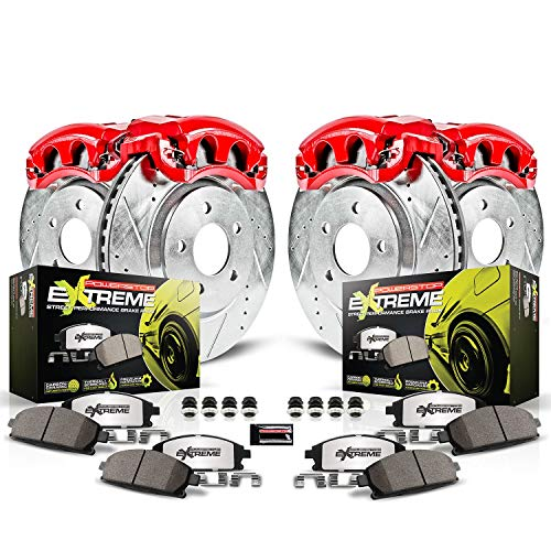 Power Stop KC1548-26 Z36 Truck & Tow Front and Rear Caliper Kit-Drilled/Slotted Brake Rotors, Carbon-Fiber Ceramic Brake Pads, Calipers