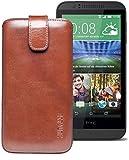 Original Suncase® Etui Tasche für HTC Desire 510 | HTC Desire 526G Dual SIM | ZTE Blade V6 Leder Etui Handytasche Ledertasche Schutzhülle Hülle Hülle *Lasche mit Rückzugfunktion* rustik-mocca braun
