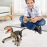 Remote Control Dinosaur Toys for Kids 2.4Ghz RC Dinosaur Robot Toys with Verisimilitude Sound(Yellow)