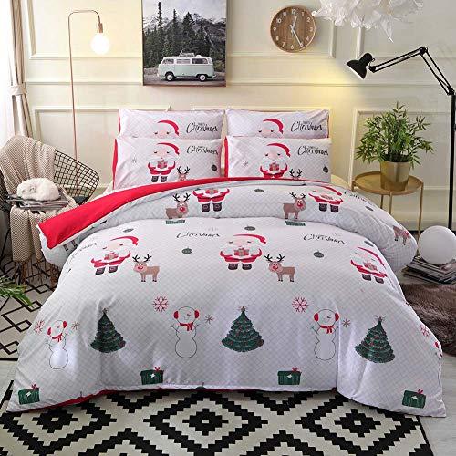 Beayn Juego Ropa De Cama 2/3 Piezas De Navidad,Funda Nórdica,1/2 *Funda De Almohada,A:White,Single:150 * 200CM