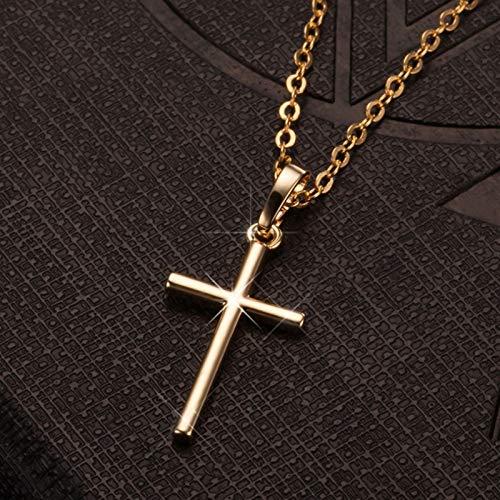Colgantes de la cruz femenina collar de cristal brillante collar colgante (Metal Color : GOLDEN B)