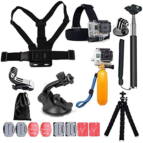 YEHOLDING 13-in-1 Accessori per Gopro, Kit Accessori per Action Cam Compatibile con GoPro Hero 9 8 Max 7 6 5 4 Black SJ4000 e Altre Fotocamere Sportive