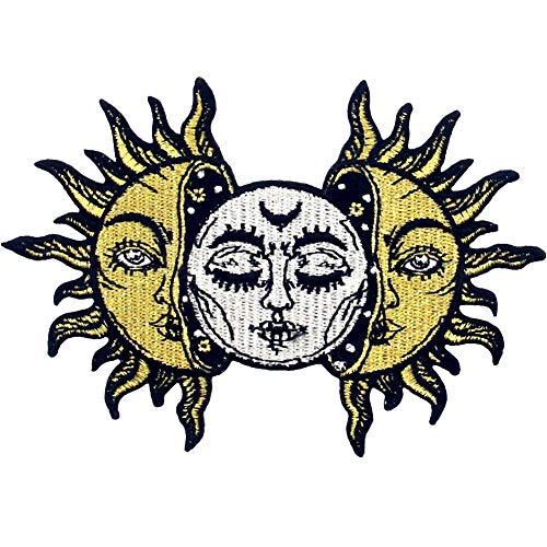 Sun and Moon Patch Embroidered Biker Applique Iron On Sew On Emblem