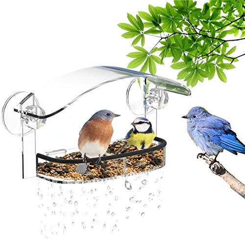 NIUXXVogelhäuschen,vogelhausFenstersaugnapf,FutterspenderfürWildvögelDurchsichtigerFensterVogelfütterer,MitDachundbeweglichemVogelfutterspender,KleinVogelfutterstation(25.5x14.5x10cm)