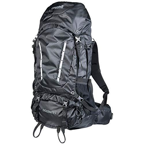 COLUMBUS Mochila Dolomite 55 para Senderismo o Trekking Apta para Mujer u Hombre. Mochila Excursiones o IR de Camping. 55 litros, Color Negro
