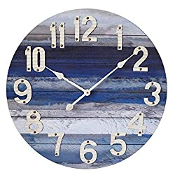 MODE HOME Beach Blue 24 Large Decorative Wall Clock with White Arabic Numerals-Farmhouse Clock-Vintage Clock-Antique Clock-Rustic Clock