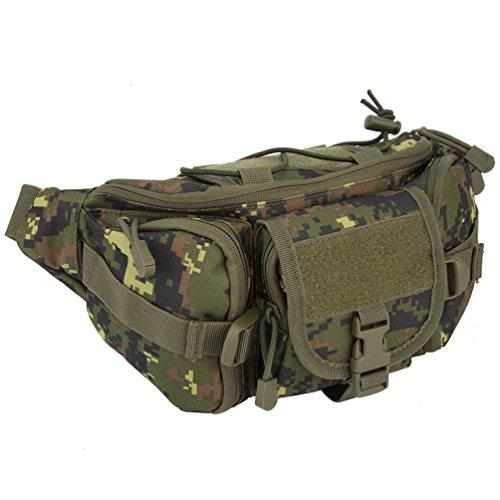 OLEADER Taktische Taille Pack Military Fanny Packs Hüftgürtel Tasche Beutel Werkzeug Organizer für Outdoor Wandern Klettern Angeln Jagd Bum Bag (Wald digital) (Waldtarn)