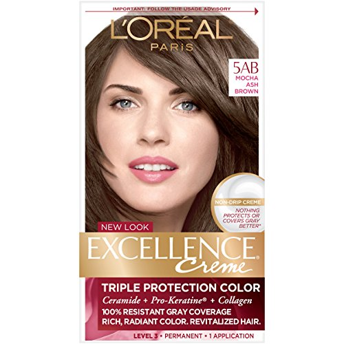 L'Oreal Paris Excellence Creme Permanent Hair Color, 5AB Mocha Ashe Brown, 100% Gray Coverage Hair Dye, Pack of 1