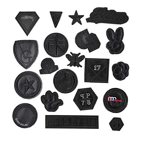 Juland 20 PCS Parches de PU Negro Autoadhesivo Mochilas personalizadas decoración parches para hombres, mujeres, niños, niñas, niños