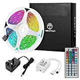 WenTop LED Strip Lights 5M(16.4Ft) RGB Colour Changing Strips Lights with Remote Control