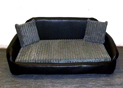 Zippy Small Sofa Dog Bed - Black Faux Leather + Grey Chunky Cord - Wipe & Wash Clean