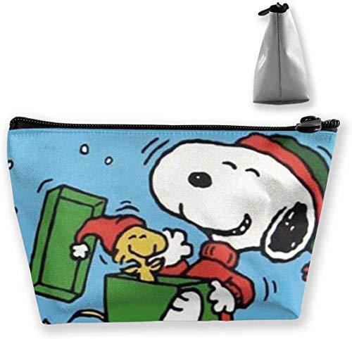 Bolsa de maquillaje Bolsa de cosméticos Felices vacaciones Snoopy Bolsa de almacenamiento trapezoidal multifuncional Kit de viaje Organizador