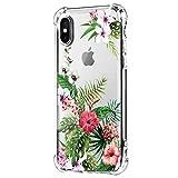 Neivas Coque iPhone XS/XS Max/XR 2018,Clair Souple TPU Gel Silicone Crystal Transparente Fleur Motif Ultra Mince Anti Choc Protection Étui Housse pour Téléphone iPhone XS Max 6.5' (7, iPhone XR)