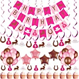 54 Pieces Cowgirl Themed Party Decorations Horse Birthday Party Decorations Cowgirl Birthday Banner Cake Toppers Hanging Swirl Balloons for Baby Shower Wedding Birthday Party Supplies