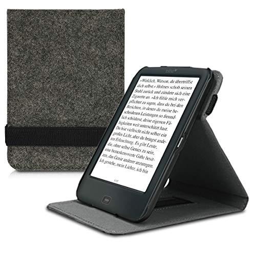 kwmobile Hülle kompatibel mit Tolino Shine 2 HD - Schlaufe Ständer - e-Reader Schutzhülle - Filz Dunkelgrau