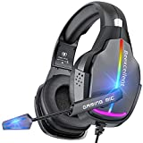 VersionTECH. Gaming Headset PS5 Headset PS4 Xbox One Game Headphones with Comfort Self-Adaptive Earmuffs/ 50mm Speaker/RGB Breathing Lights/NC Microphone for Playstation, Xbox, Nintendo, PC, Mac