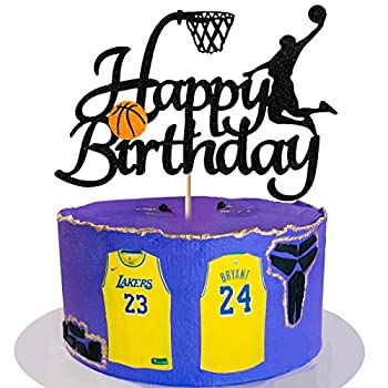 Vivicraft Basketball Theme Cake Topper for Boy Birthday Decorations Double Sided Glittery Happy Birthday Basketball Cake Toppers for Party Supplies  1pcs Black