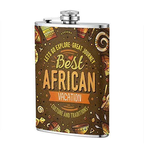 Afrikanische Totemkultur 8OZ Deluxe Edelstahl-Flachmann für Alkohol