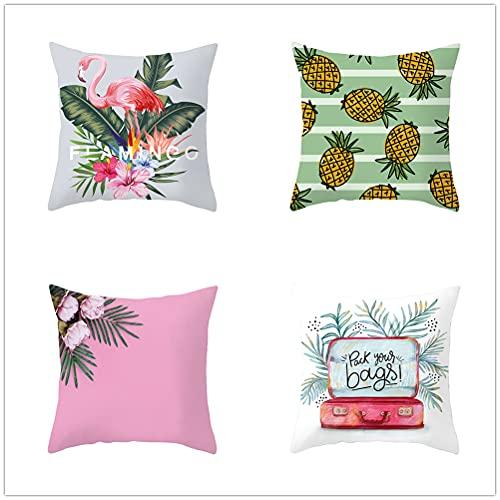 Niuqichongtian Funda de almohada de plantas tropicales pequeña piña en maceta, 4 piezas, juego de fundas de cojín de colores, TPR037-8