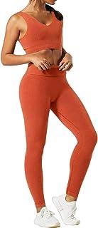 Jetjoy Women 2 PCS Workout Set Seamless Super Soft Material Deep V Neck Bra+Leggings Sports Suit Yoga Outfits