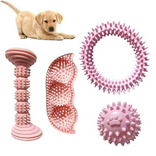2-8 Months Puppy Teething Chew Toys Interactive Puppies Biting Toy Soothes Itchy Teeth and Painful 360°Puppy Teeth Cleaning Soft Doggy Rubber Toothbrush Dog Toys for Small Dogs, Pink, 4 pcs (Pink)