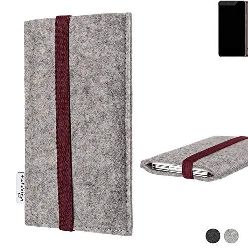 flat.design Handy Hülle Coimbra für Allview X4 Xtreme - Schutz Case Tasche Filz Made in Germany hellgrau Bordeaux