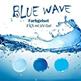 EuBeCos BLUE WAVE Farbgelset 3 x 5 ml MADE IN GERMANY in STUDIO QUALITÄT! Selbstglättend im VORTEILS-SET!