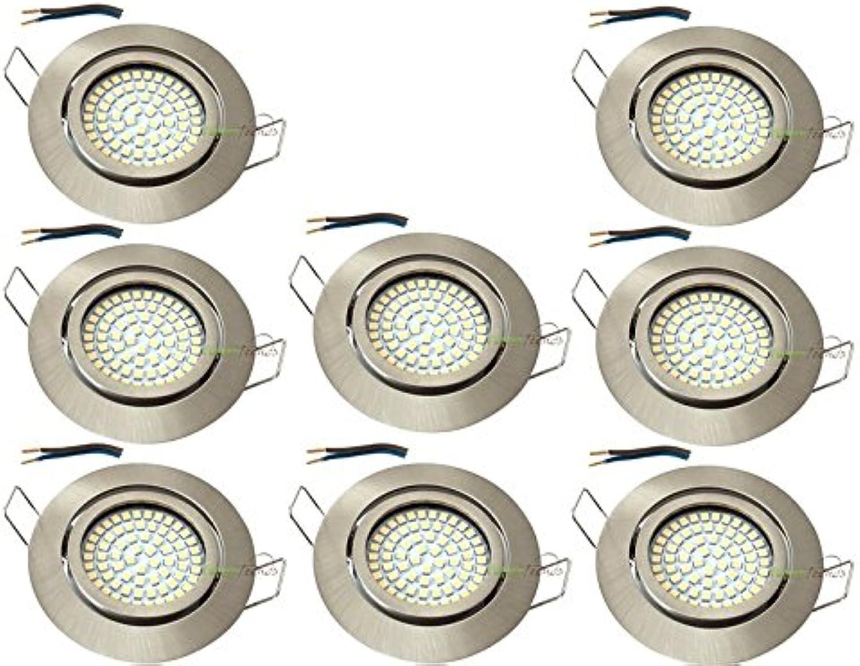 LED Einbaustrahler 230V HIGH SMD Einbauleuchte flache Einbauspots 3,5W set Schwenkbar  3.000K  Edelstahlgebürstet, (Matt-Chrom)  Lochkreis  72mm (8er Set)