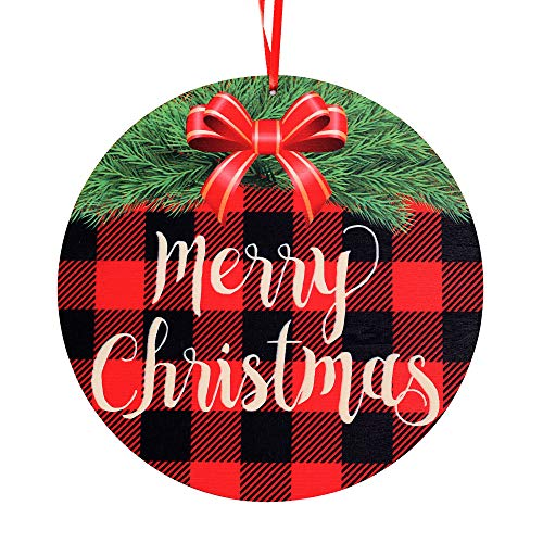 Christmas Hanging Decorations Door Wreath Wooden Door Hanger, Red and Black Buffalo Check Plaid Christmas Hanging Sign Holiday Decor for Christmas Home Wall Window Farmhouse Outdoor Decorations