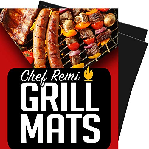 Chef Remi Grill Mat - Set of 2 Heavy Duty BBQ Grilling Mats - 16 x 13 Inch - Voted Best Rated Barbecue Accessories - Non Stick, Reusable and Dishwasher Safe