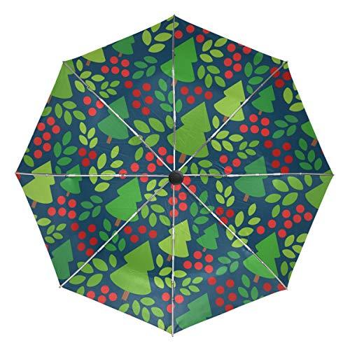 Kompakter Reise-Regenschirm mit Weihnachtsbaum-Blättern, für Outdoor, Regen, Sonne, Auto, faltbar, wendbar, winddicht, verstärkter Baldachin, UV-Schutz, ergonomischer Griff, automatisches Öffnen/Schließen