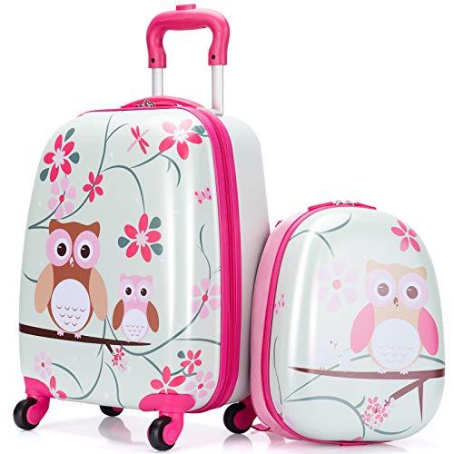 COSTWAY 2-delige kinderbagage, handbagage set met 12-inch rugzak en 18-inch koffer, koffer op wielen, schattige cartoon…