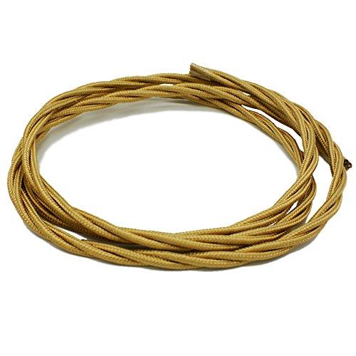 Textilkabel Gold gedreht/gedrillt Länge 3 Meter 3-adrig Stoff-Kabel Lampenkabel Leuchten-Kabel Rundkabel Stromkabel umsponnen