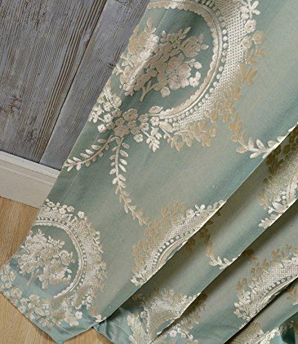 adaada 2er-Set vorhänge Europäische Jacquard vorhänge für Wohnzimmer (Grün, 245 * 140cm)